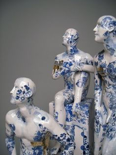 Figurative ceramic sculpture with decoration inspired by the tin glaze tradition./Pierre Williams-Home