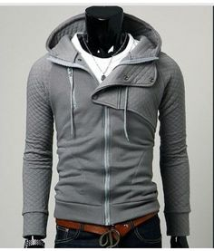 An amazing hoodie with a great twist! This zip up hoodie has checkered light sleeves and hood as well as a button up fold-over collar and drawstring hood