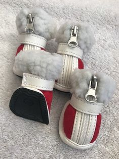 Dog Shoes Size S Pet Puppy Clothing Apparel Red White Zip Up Soft Trim #PupCrew
