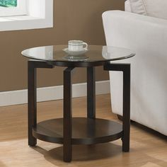 Tanner Espresso End Table with Shelf | Overstock.com