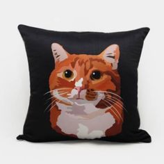 Cat throw pillow Hand Painted couch cushions for home decoration 18 in