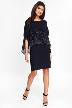 650204cfc39e Petite Navy Embellished Overlay Shift Dress - Dresses - Clothing