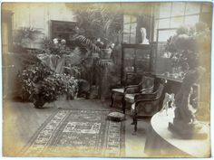 Inside the living room of Villa des Brillants after the death of Rodin. The coffin in the left.