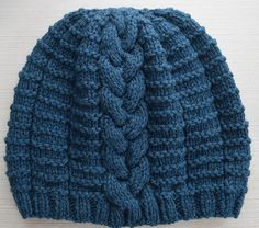 """""""A single, braided cable adds visual appeal to this stretchy, unisex beanie. Wear the cable at the center or to the side for different looks. Slip Stitch Knitting, Loom Knitting, Knitting Patterns Free, Knit Patterns, Free Knitting, Knitting Needles, Free Pattern, Easy Knit Hat, Knitted Hats"""