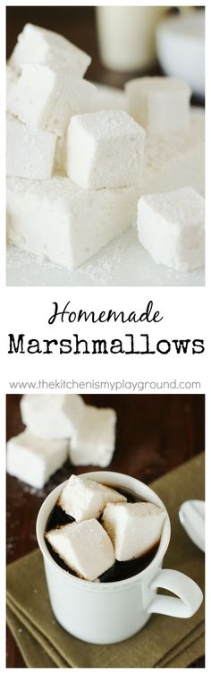 Homemade Marshmallows ~ such a wonderful treat!  TOTALLY worth the homemade time & effort. www.thekitchenismyplayground.com