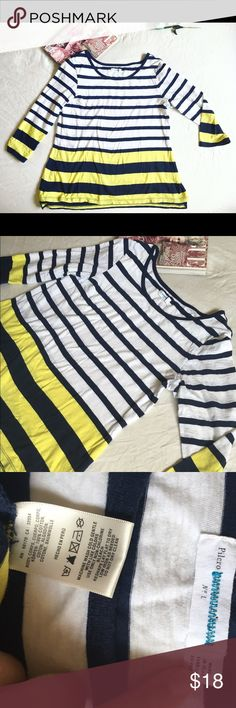 """Anthro striped quarter sleeve tee Anthro striped quarter sleeve tee  The fabric is worn but still has a ton of life !  Some minor peeling around collar  Tiny bit hi lo  Cute button detail on left shoulder  Waist 21"""" Length roughly 27-29"""" Anthropologie Tops"""