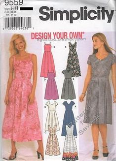 01e8826b3eaf Pattern Simplicity Sewing Woman Design Your Own Summer Dress Sz 6-12 NEW OOP