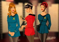 Sci-Fi pin-ups smolder in original Star Trek uniforms Best Sci Fi Movie, Sci Fi Movies, Watch Star Trek, Star Trek Tos, Star Wars, Star Trek Characters, Star Trek Movies, Star Trek Images, Star Trek Starships