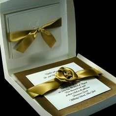 White and Gold Wedding. boxed couture wedding invitations