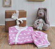 Pink bird baby gift set