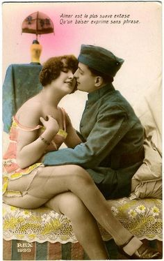 French Kiss  1920s postcard