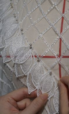 Manufacture embroidery lace for wedding dress and couture dress since we do everything in house. reorder the design whenever you need again. Hand Embroidery Dress, Bead Embroidery Patterns, Couture Embroidery, Embroidery Fabric, Embroidery Fashion, Hand Embroidery Designs, Fabric Art, Lace Fabric, Beaded Embroidery