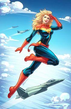 Captain Marvel!   Artist: http://dstpierre.deviantart.com  Link: http://dstpierre.deviantart.com/art/Captain-Marvel-Colored-492656734  #CaptainMarvel #Marvel #CarolDanvers #Art #Drawing #Comics