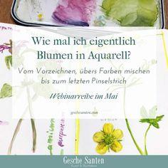 Blumen malen in Aquarell - Botanisches Skizzenbuch Art Painting, Urban Sketching, Inspiration, Watercolor, Watercolor Flowers, Art, Lettering, Art Tutorials