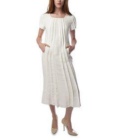 Love this White Pleated Midi Dress - Women & Plus on #zulily! #zulilyfinds