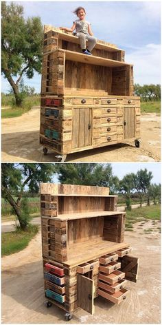 When it comes about using the old wood shipping pallets into something useful, then at the top list we always add up with the name of wood pallet bar with chest of drawers into it. These chest of drawers are on the whole being finished on the bottom view point for storage purposes.
