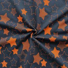 Sweatshirt Baumwollstoff angeraut  Sterne XL  Farbe Navy-Blau Orange