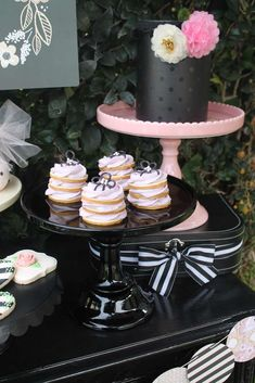 Pink and black spring party cookie stacks! See more party ideas at CatchMyParty.com!