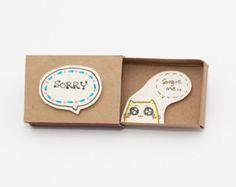 Katze-Sorry Karte Matchbox / Gretting Karte / Geschenkbox /
