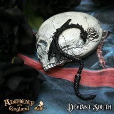 Best Seller! Alchemy Gothic E274B Dragon's Lure Black Stud Ear-Wrap (right)  Faux-stretch piercing pewter dragon ear-wrap, with surgical steel ear-post.