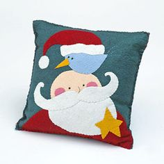 From his bushy beard to his songbird friend, this Santa Claus pillow is a wonderful holiday project that's a snap to make. Applique Pillows, Sewing Pillows, Wool Applique, Christmas Applique, Christmas Pillow, Christmas Patterns, Kids Christmas, Xmas, Santa Crafts