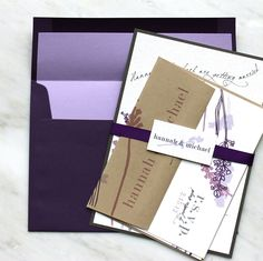 Lavender In Love - Wedding Invitations - Romantic Purple, Plum, Rustic Gray, Taupe -via Etsy.(K)