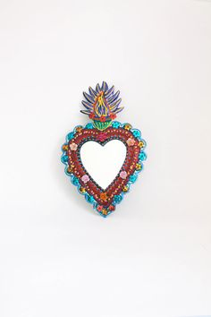 Sacred Heart tin metal mirror / Mexican folk art / bright colorful mixed media / RED rainbow silver / wedding gift