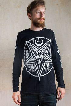 cd900f730b413 PENTAGRAM BAPHOMET Long Sleeve T SHIRT Top Biker Goth Metal Satan Occult XL  XXL