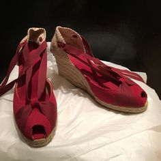 Castaner Ribbon Wedge Espadrille NEW Size 8 Never worn. Crimson red. Woven. Peep toe Castaner Shoes Espadrilles