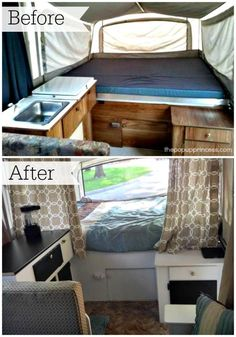 Awesome pop up camper remodel on a budget.  This one is amazing.