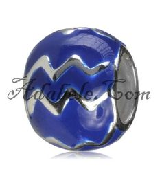 This beautiful aquarius birthstone  .925 Sterling Silver European charm fits Pandora, Biagi Trollbeads, Chamilia, and most charm bracelets find out more at adabele.com
