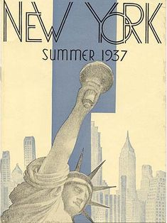 """New York Summer 1937""   Travel brochure ""New York Summer 1937."" Artist signature unclear. Published by the Municipal Art Committee - City of New York."