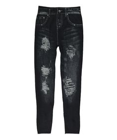 Another great find on #zulily! Black Distressed Jeggings by Poplooks #zulilyfinds