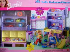 Amazon.com: Barbie All Around Home KELLY Bedroom Playset w 2 Sides (2001): Toys & Games