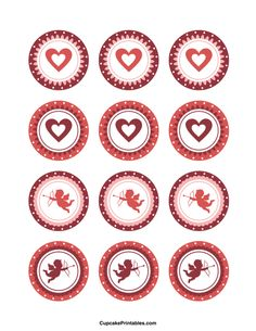 Valentine cupcake toppers. Use the circles for cupcakes, party favor tags, and more. Free printable PDF download at http://cupcakeprintables.com/toppers/valentine-cupcake-toppers/
