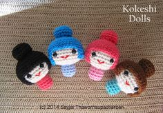 Amigurumi Kokeshi Dolls - Free Crochet Pattern - PDF  here: http://kandjdolls.blogspot.com/2014/10/amigurumi-kokeshi-dolls-free-crochet.html