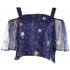 Boohoo Tia Star Sequin Shoulder Floaty Top (€13) ❤ liked on Polyvore featuring tops, shirts, crop top, cropped, crop tops, blue shirt, blue crop top, off the shoulder crop top and jersey crop top