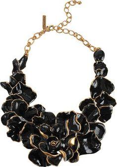 Oscar de la Renta Rose Petal Collar Necklace