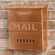 "Vertical ""MAIL"" Wall Mount Copper Mailbox $89.95. Solid copper construction. Available in Antique Copper. Overall measurements: 10-1/4"" L x 5-3/8"" W (front to back) x 11-5/8"" H (± 1/2""). 4-3/4"" center to center mounting holes."