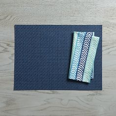 Chilewich ® Purl Blue Vinyl Placemat and Fete Blue Cotton Napkin   Crate and Barrel