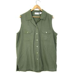 Raw Silk Tank Top Army Green Button Up Silk Blouse Brushed Silk... ($34) ❤ liked on Polyvore featuring tops, vintage tank tops, sleeveless tank, olive green top, silk tops and button down tank top