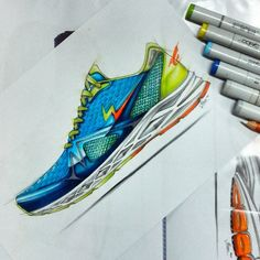 By Ikhsan Noor Erlangga  - TIGER sketch running shoes 1st touch concept..#footweardesign  #industrialdesign #productdesign