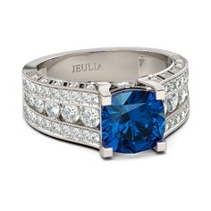 Cushion Cut Sapphire Rhodium Plated 925 Sterling Silver Women's Ring