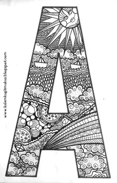 Name Coloring Pages, Coloring Letters, Skull Coloring Pages, Alphabet Coloring Pages, Mandala Coloring Pages, Coloring Books, Alphabet Crafts, Alphabet Art, Mandala Art