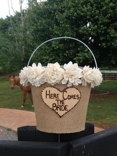 Flower Girl Basket - Flower Girl Pail - Rustic Wedding - Shabby Chic Wedding Decor - Rustic Flower Girl Basket