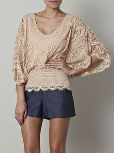 Beyond Vintage Dolman Sleeve Lace Blouse in Beige Pretty Outfits, Beautiful Outfits, Hippy Chic, Matches Fashion, Look Chic, Lace Tops, Fashion Outfits, Womens Fashion, Passion For Fashion