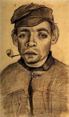 Head of a Young Man with a Pipe - Vincent van Gogh