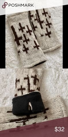 Fingerless Gloves, from Etsy. Heavy wool warm your hands gloves.  Fingerless, with holes for thumbs.  Black fleece lining. Etsy Accessories Gloves & Mittens
