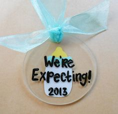 We're Expecting Baby Christmas Ornament - We're Pregnant Christmas Ornament - Pregnancy Announcement - Pregnancy Ornament.