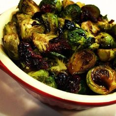 Roasted Brussels Sprouts with Balsamic and Cranberries - the perfect Thanksgiving and Christmas side dish!